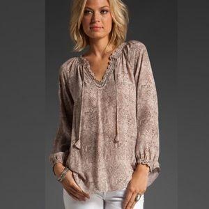 Rebecca Taylor animal print silk peasant blouse 6